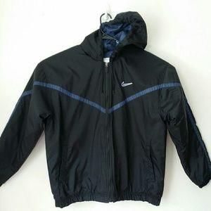 Nike Black Blue Hooded Coat XL Mint